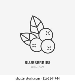 Blueberry flat line icon, forest berry sign, healthy food logo. Illustration of cranberry, lingonberry for natiral food store.