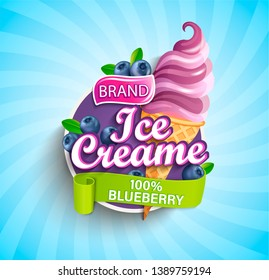 Blueberry Ice cream logo on sunburst background with berries and sundae in cone in cartoon style for your design.Gelato for banner,poster,brand,template and label,packaging,packing, emblem. Vector