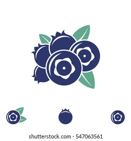 Blueberry. Icon set. Abstract berries on white background