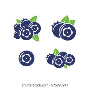 Blueberry. Icon set. Fresh blueberry on white background