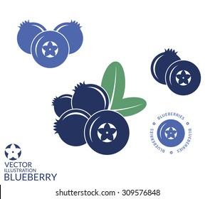 Blueberry. Icon set. Isolated blueberry on white background