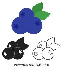 Blueberry icon in three variants. Vector.