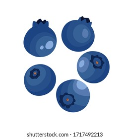 Blueberry isolated on white background. Natural fresh ripe tasty blueberries. Vector illustration for background, packaging, textile, card and various other designs.  Template  icons. Food concept.
