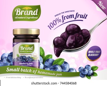 Blueberry jam ads, a full spoon of jam and glass jar surrounded by fresh berries, 3d illustration