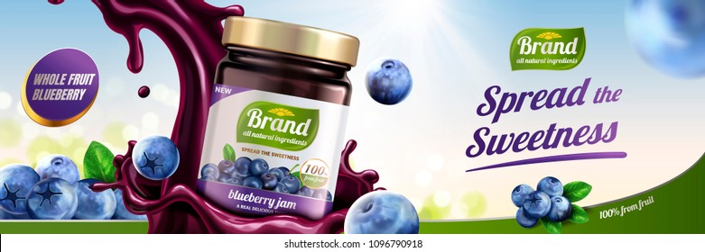 Blueberry jam ads with splashing liquid pouring down from sky on bokeh background