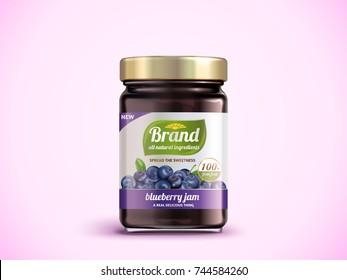 Blueberry jam package design, glass jar mockup with designed label in 3d illustration, pink background