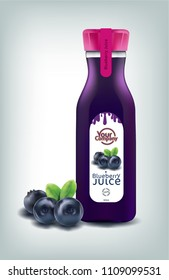 BLUEBERRY AND JUICE BOTTLE ON ISOLATED BACKGROUND. VECTOR EPS