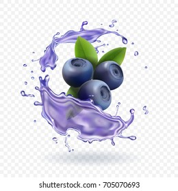 Blueberry juice Realistic Vector illustration.