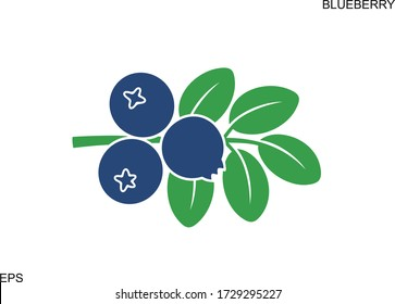 Blueberry logo. Isolated blueberry on white background