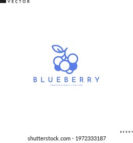 Blueberry logo. Line art. Isolated blueberries with leaves on white background. Fresh berries