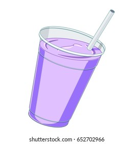 Blueberry milkshake/smoothie with straw in a plastic cup.