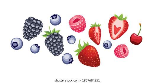 Blueberry, raspberry, strawberry,cherry,blackberry isolated on white background.