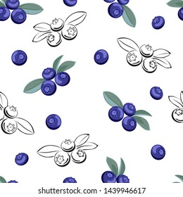 Blueberry seamless pattern on white background. Vector illustration of сolor and black and white berries. Vector outline and silhouette contour image.