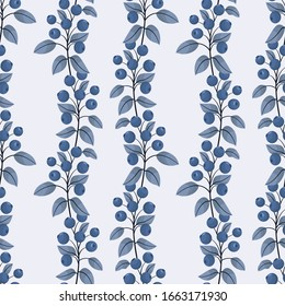 Blueberry seamless pattern; vertical blueberry twigs; berry design for fabric, wallpaper, wrapping paper, textile, packaging, web design.