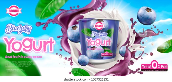Blueberry yogurt ad with ingredient swirling around the container on blue sky background in 3d illustration