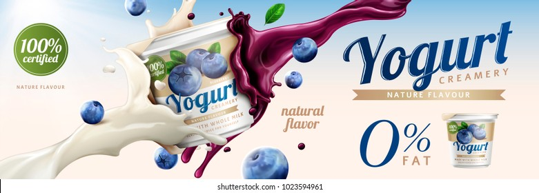 Blueberry yogurt ads, delicious yogurt commercial with milk and fruit jam splashing together in 3d illustration