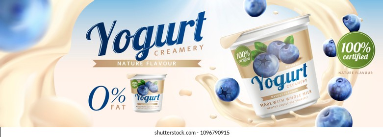 Blueberry yogurt ads with splashing cream and fruit on bokeh background