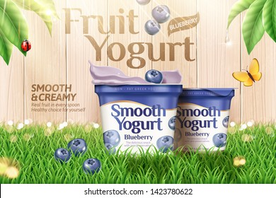 Blueberry yogurt on green grass and wooden fence background in 3d illustration