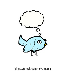 bluebird with thought bubble cartoon