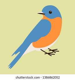 bluebird vector illustration,flat style, profile side