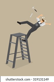 Blue-collar worker loses balance and falls backward from ladder with tools flying off. Vector cartoon illustration on work accident concept isolated on plain background.