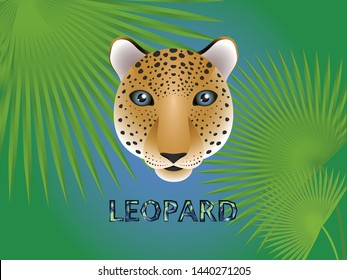 Blue-eyed leopard cheetah face mascot emoticon logo in the fan palm
