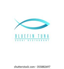 Bluefin tuna logo fish silhouette, mockup sushi restaurant, design element fishing club emblem