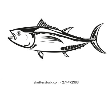 Bluefin Tuna Outline Silhouette Artwork used in canned foods and a great source for the cuisine of Japan such as sashimi or sushi.. Editable Isolated EPS10.