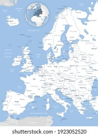 Blue-gray detailed map of Europe and European Union administrative divisions and location on the globe. Vector illustration