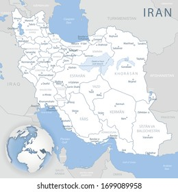 Blue-gray detailed map of Iran and administrative divisions and location on the globe. Vector illustration