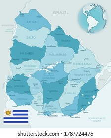Blue-green detailed map of Uruguay administrative divisions with country flag and location on the globe. Vector illustration