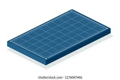 Blueprint 3d background. Isometric vector illustration isolated on white.