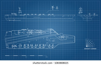 Blueprint of aircraft carrier. Military ship. Top, front and side view. Battleship model. Industrial drawing. Warship in outline style. Vector illustration