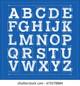 Blueprint alphabet. Technical font. Architecture slab serif typeface.