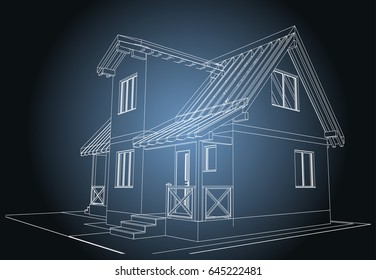 The blueprint of architectural design of half-timbered residential house with the  terrace. Vector.