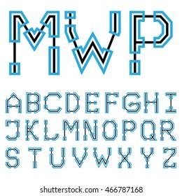 Blueprint architectural font 02. Vector EPS8
