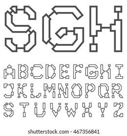 Blueprint architectural font 03. Vector EPS 8