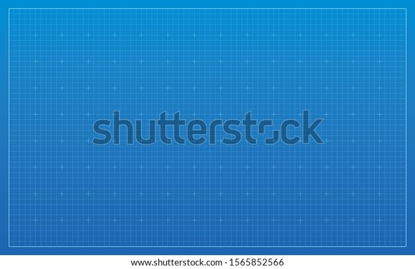 Blueprint background. Blue lined architecture backdrop. Technical industrial concept illustration. Wide wallpaper, pattern digital paper. Empty grid with editable outline strokes. Blank template.