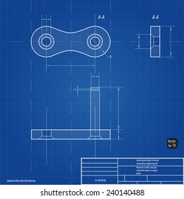 Blueprint bike chain link drawing eps 10