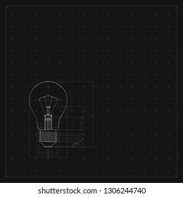 Blueprint of bulb lamp. Stylized vector illustration. Abstract technology background in gray color.