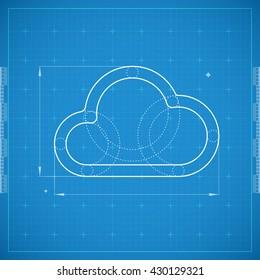Blueprint of cloud. Stylized vector illustration.