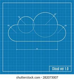 Blueprint of cloud. Vector illustration.