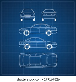 Blueprint of commercial vehicle - CAR, 5 views