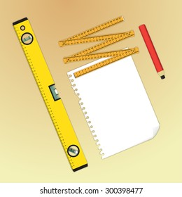 Blueprint creation tools, paper, water-level, meter and pencil - illustration