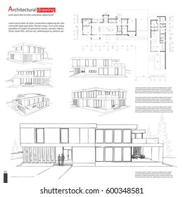 Blueprint drawing of 3D building. Vector architectural template background. EPS10