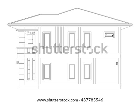 Blueprint Drawing 3 D Home Building Side Stock Vector (Royalty Free on free 3d house plans, free 3d house models, free 3d business, free 3d printing, free 3d design, free 3d software, design home building,
