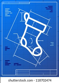 Blueprint drawing of christmas stocking. Vector illustration of christmas sock symbol