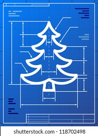 Blueprint drawing of christmas tree. Vector illustration of pine symbol