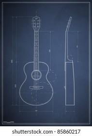 blueprint drawing six-acoustic guitar