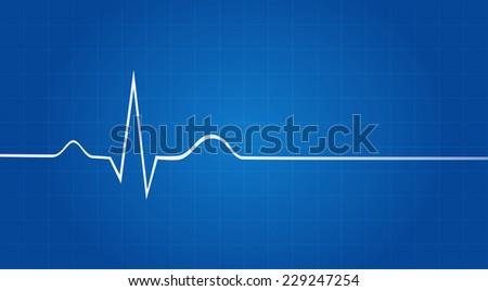 blueprint electrocardiogram last life sign stock vector royalty